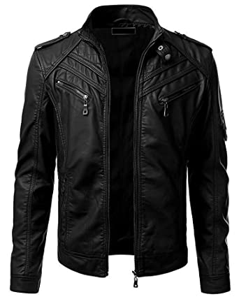 blaq ash men s faux leather biker outerwear jacket amazon in