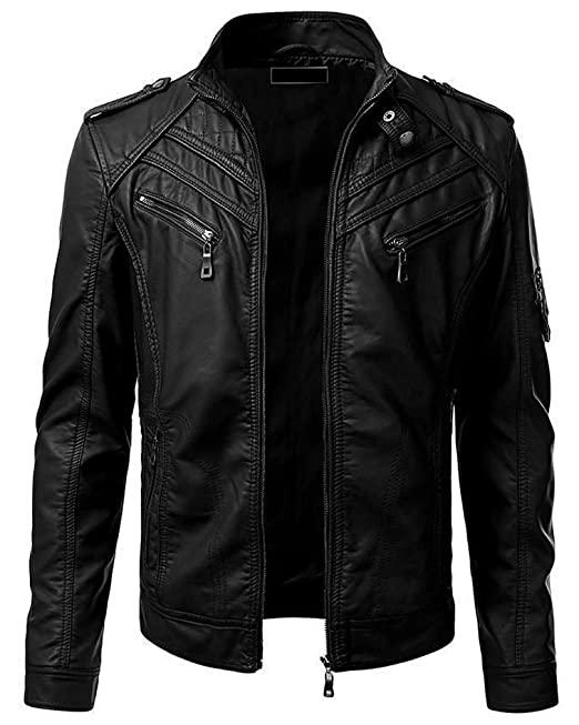 Buy Blaq Ash Men S Faux Leather Biker Outerwear Jacket At Amazon In