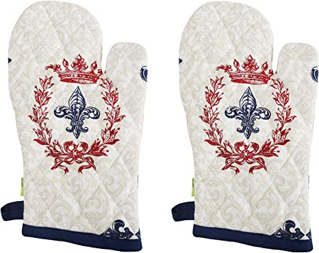 Country Style Set of 2 Kitchen Canvas Embroidery Cotton Quilted Oven Mitt Glove
