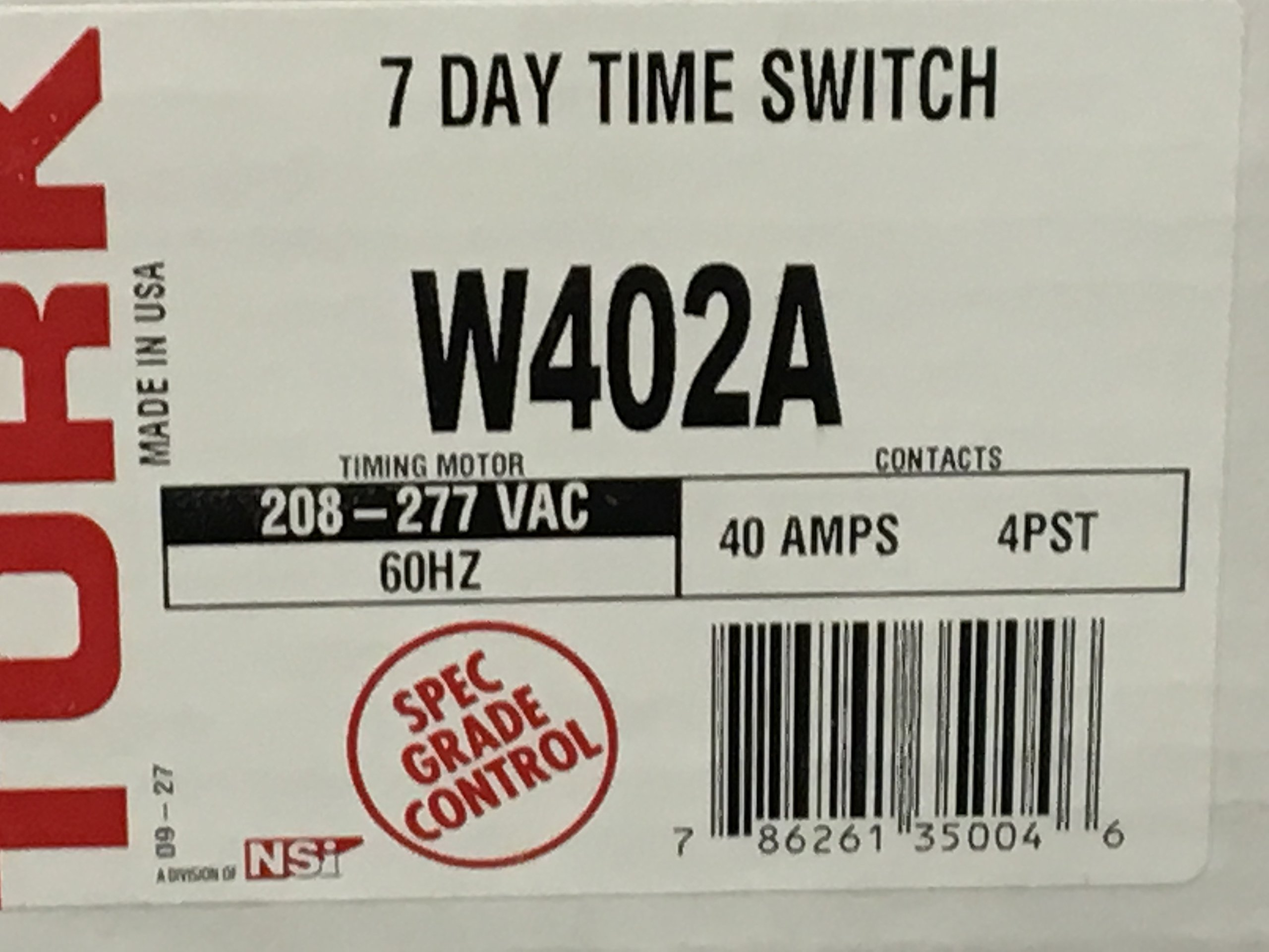 1- NSI TORK W402A W-Series Different Schedules Each Day 7 Day Time Switch, Metal Indoor NEMA 1, 208-277 Input Supply, 4PST Output Contact