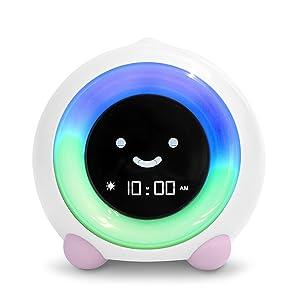 LittleHippo Mella Ready to Rise Children's Sleep Trainer, Alarm Clock, Night Light and Sleep Sounds Machine (Blush Pink)