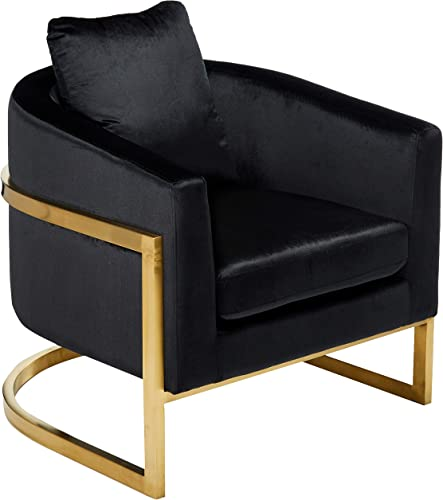 Christopher Knight Home Chloe Modern Velvet Glam Armchair with Stainless Steel Frame-Deep Gold Finish, Black, Gray Tone
