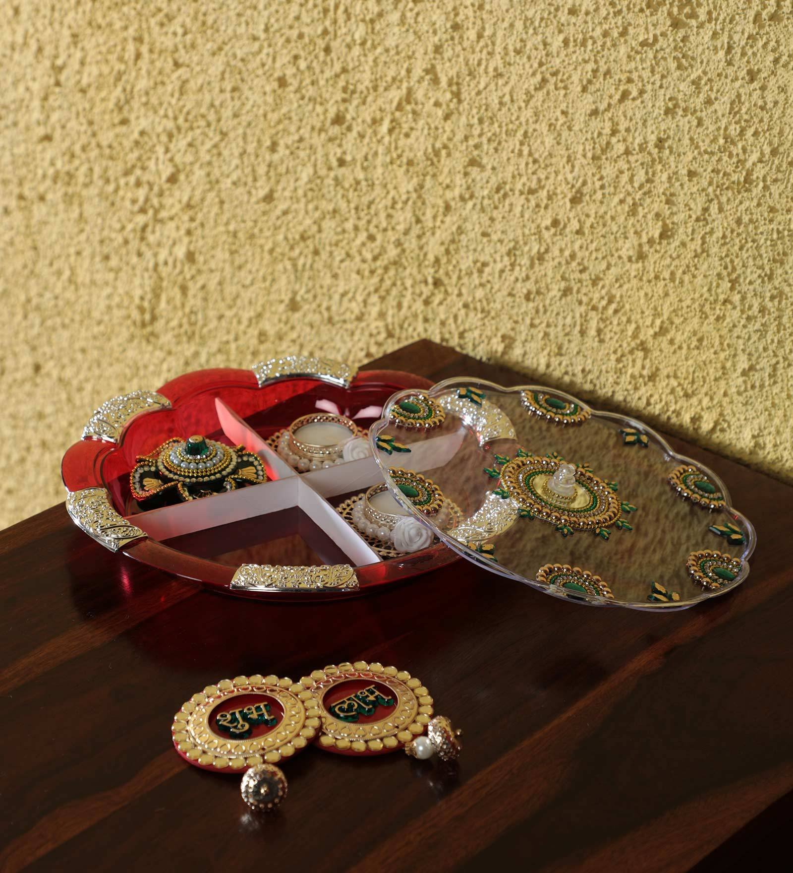 Itiha Home Décor Diwali Gift Set With Dryfruit Box (12 inches), Haldi Kukum Holder(3 inches), 1 Pair of Shubh Labh Hanging (4 inches), 2 Tea light Holder Diyas(3 inches)