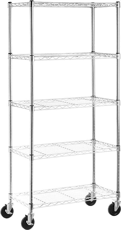 """chrome Basics 5-étagère verticale étagère de sur 4/"""" Roulettes"""