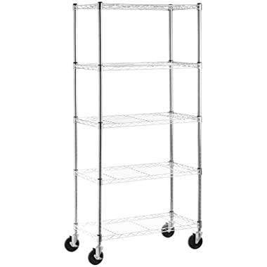 AmazonBasics 5-Shelf Shelving Storage Unit on 4'' Wheel Casters, Metal Organizer Wire Rack, Chrome Silver