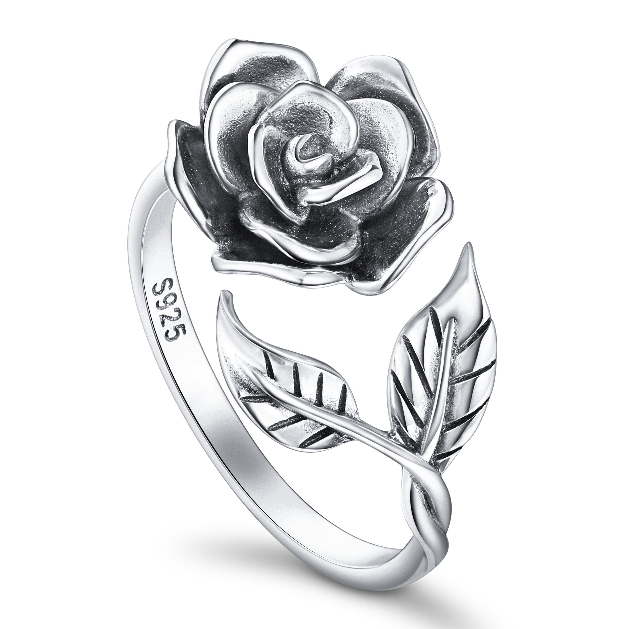 ALPHM Rose Flower Ring for Women S925 Oxidized Sterling Silver Adjustable Wrap Open Lotus Spoon Rings by ALPHM