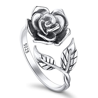 ALPHM Rose Flower Ring For Women S925 Oxidized Sterling Silver Adjustable Wrap Open Rings Mothers Day
