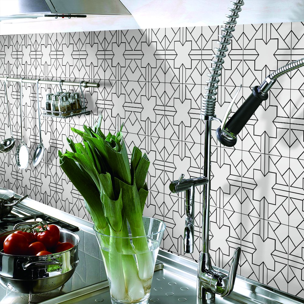 3m x 0.2m APSOONSELL Geometric Patterned Home Wall Decor Peel and Stick Tile Backsplash Stickers for Bedroom Floor Tile Stickers Kitchen and Bathroom Decor Diamond