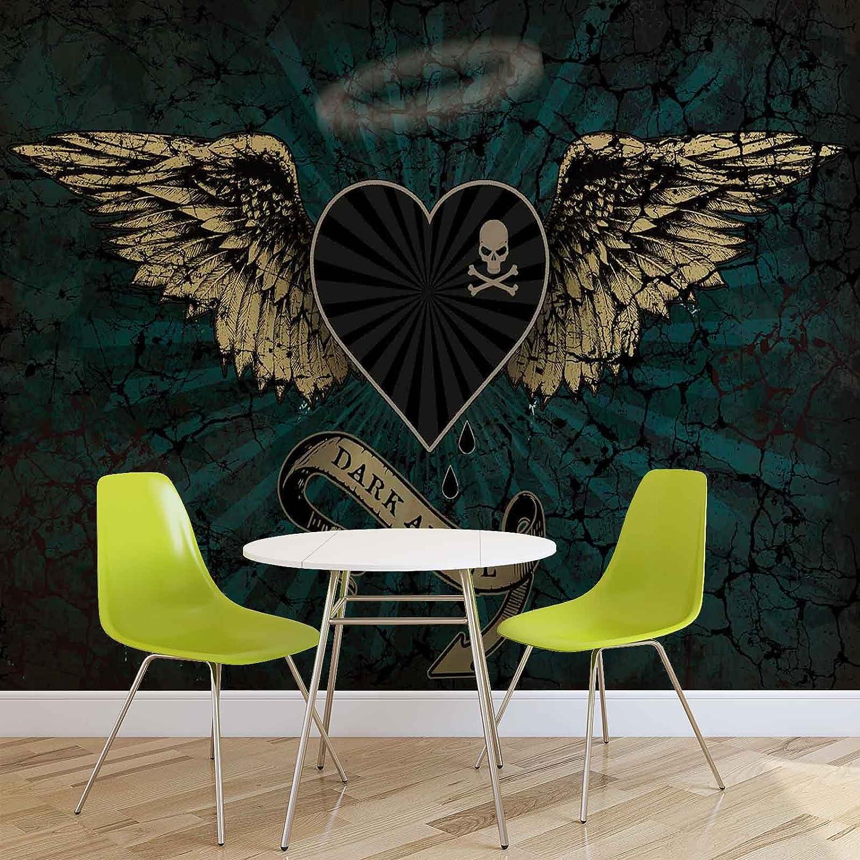 Alchemy Herz Dark Angel Tattoo - Forwall - Fototapete - Tapete - Fotomural - Mural Wandbild - (2365WM) - XXXL - 416cm x 254cm - VLIES (EasyInstall) - 4 Pieces
