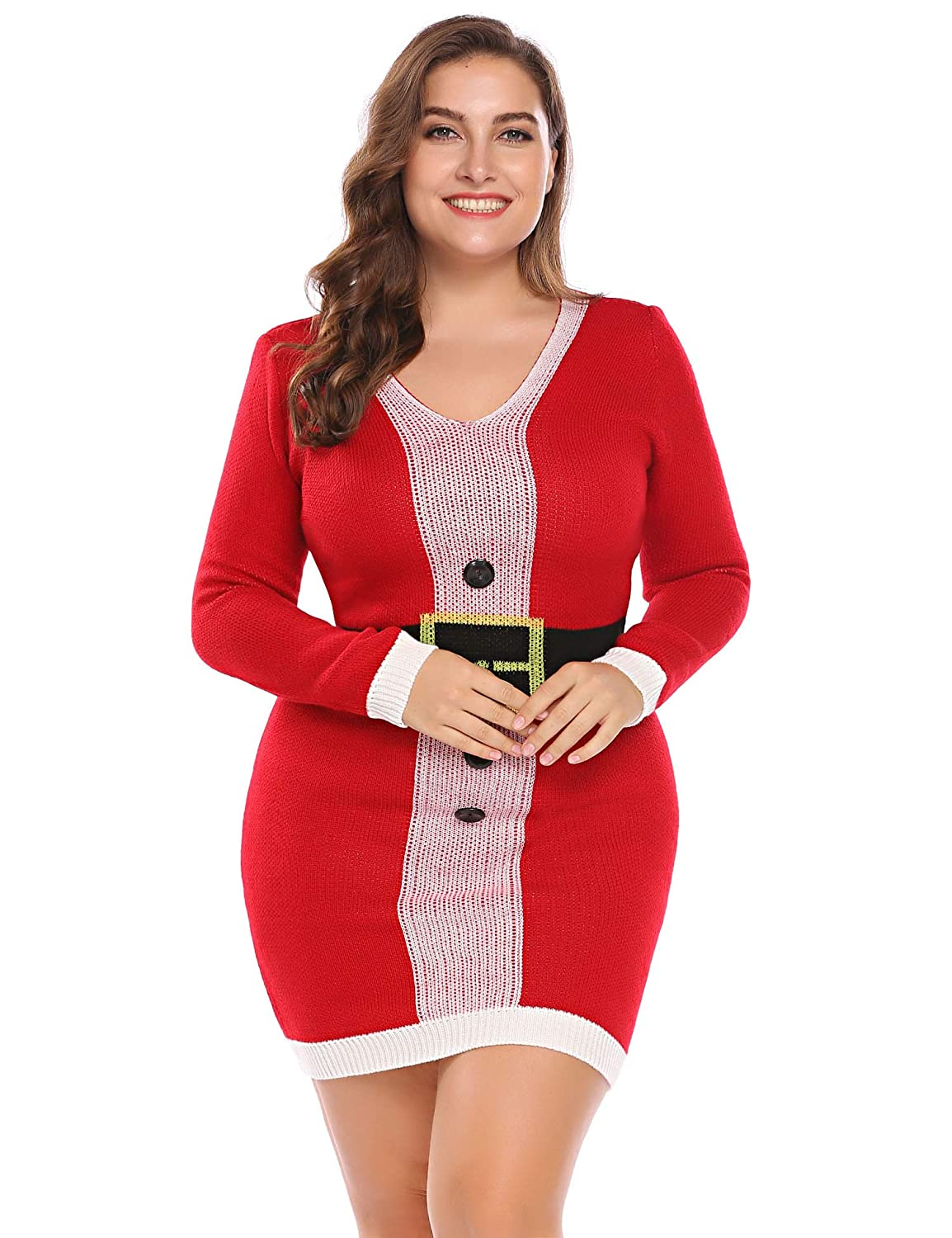 c3af0d374f9 In Voland Ugly Christmas Sweater Dresses For Women Plus Size Long Sleeve V  Neck Cowl Crewneck