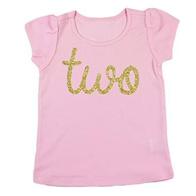 4b927920 Olive Loves Apple Gold Two Girls 2nd Birthday Shirt Glitter Gold Two Second  Birthday Outfit Girl
