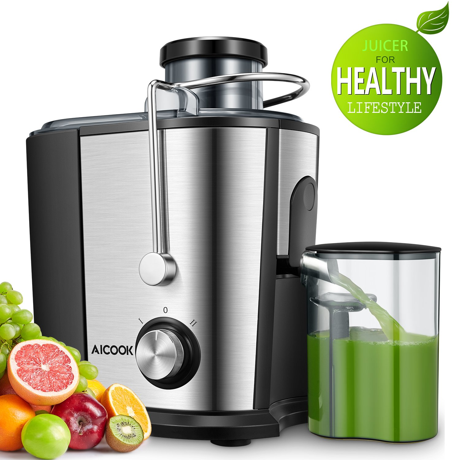 Juicer Centrifugal Juicer, Aicook Wide Mouth Juice Extractor Juicers for Whole Fruit and Vegetable, BPA-Free Food Grade Stainless Steel, Dual Speed Setting Juicer Machine with Anti-drip Function