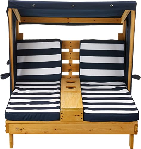 KidKraft Outdoor Double Chaise Lounge, Honey Navy White, One Size