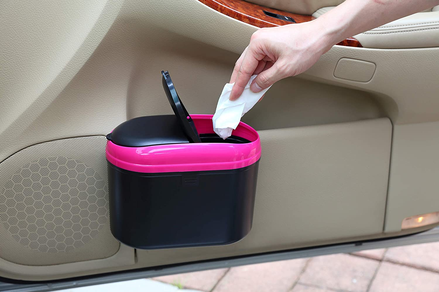 Pink YBM HOME Mini Car Trash Can with Double Cover 0.8L Auto Garbage Bin Hanging Wastebasket for Getting Rid of Waste On The Go