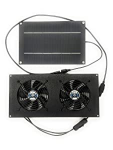 Coolerguys 5W Solar Powered Dual Fan Kit for Small Chicken Coops, Greenhouses, Doghouses, Sheds, and Other Enclosures