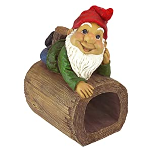 Design Toscano Garden Gnome Statue - Stormy The Gnome - Gnome Downspout Extender - Lawn Gnome