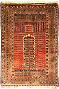 KnotsnCrafts Bukhara Parda Hand Knotted Wool Rug - 24 x 36 Inch - Multi Color