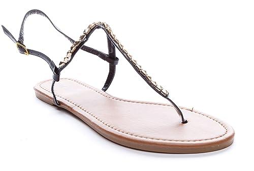 ee7055ddf2d Pink Label Women s Gold Studded Strappy Gladiator Flat Sandal in Black  Size  6