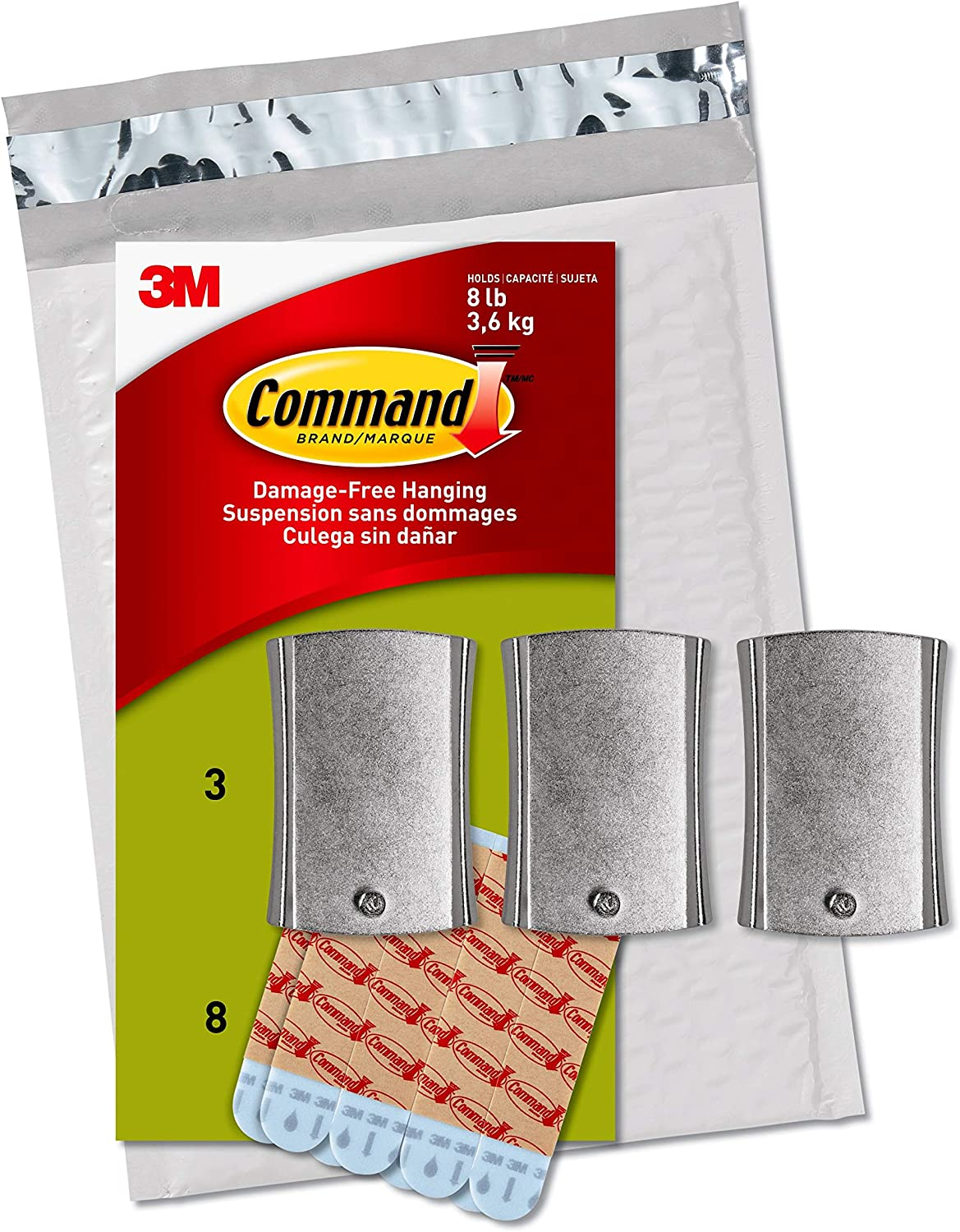 Command Universal Frame Hanger, Holds 8 lbs, White, Decorate Damage-Free, Easy to Open Packaging (PH048-3NA)