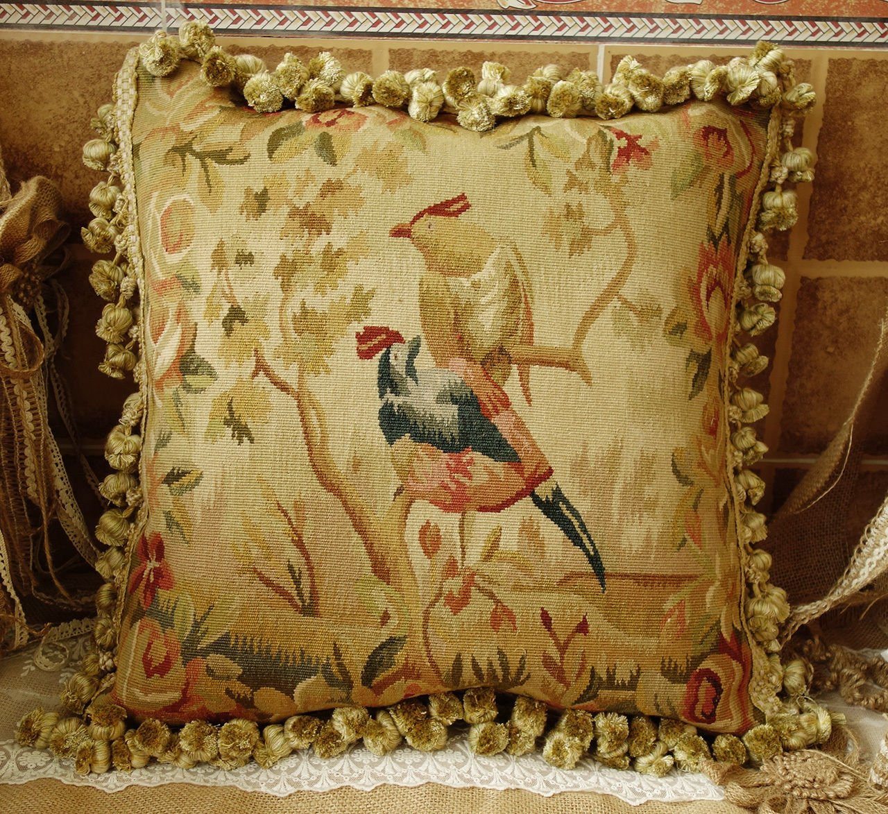 Fine Home Crafts 18インチ ヴィンテージ Aubusson 枕カバー 18世紀 アンティークレプリカ 家宝 宝物 鳥 #A   B07R6K2YVV