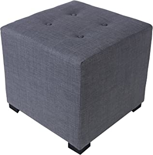 product image for MJL Furniture Designs Merton Designer Square 4 Button Tufted Upholstered Ottoman, Dark Grey