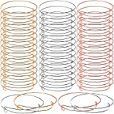 60 Pieces Expandable Bangle Bracelets Adjustable Wire Blank Bangles Metal Bracelets for DIY Jewelry Making