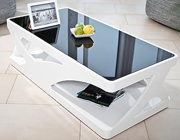 Couch Tisch Weiss Hochglanz Aus MDF Und Glas 120x60cm Recht Eckig
