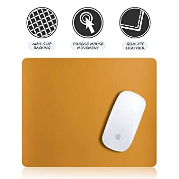 Yellow Easy to Clean 9.45 X 7.87 Anti-Slip Design Insten Premium Leather Mouse Pad with Waterproof Coating