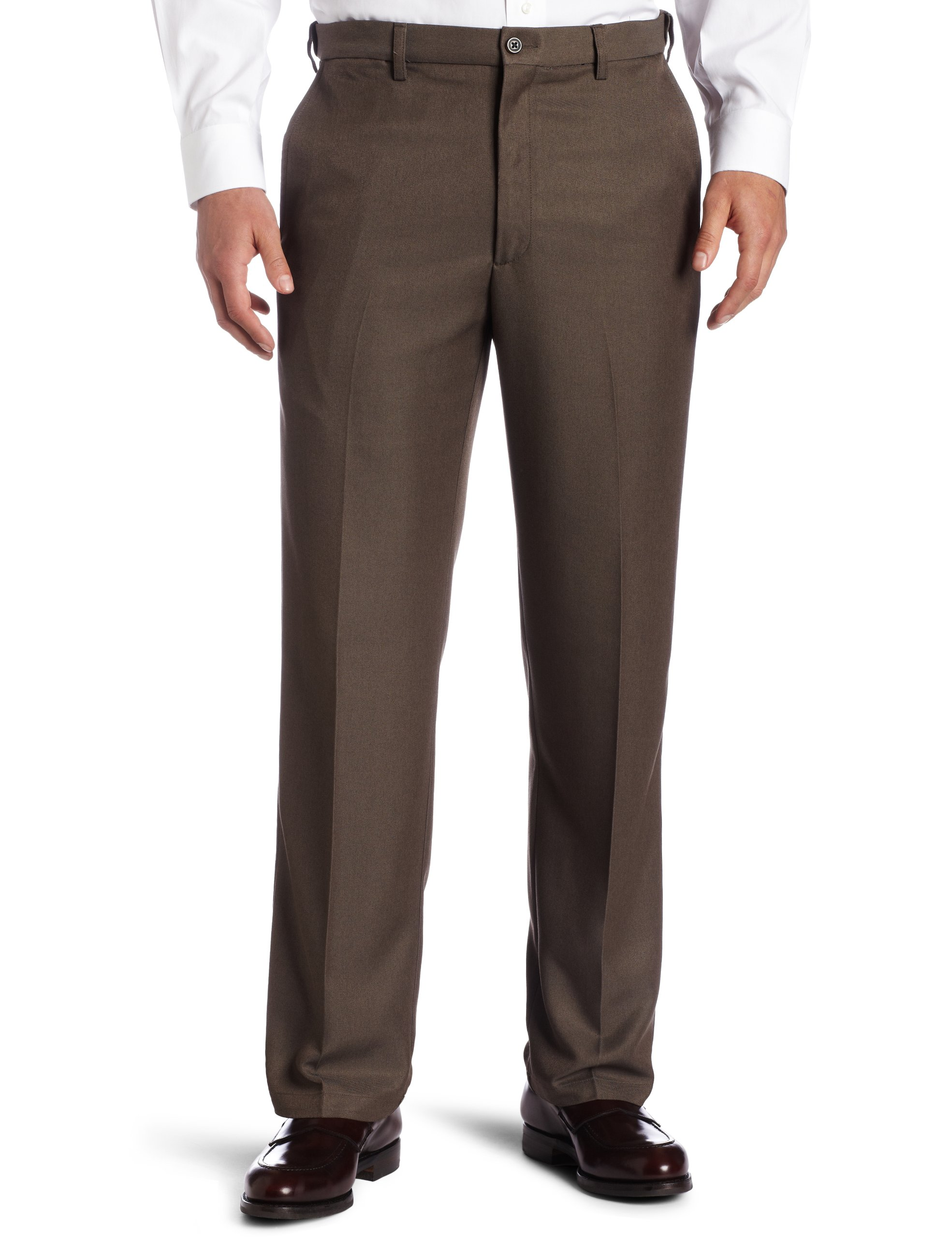 Haggar Men's Cool 18 Hidden Comfort Waist Plain Front Pant, Heather Brown,44x29