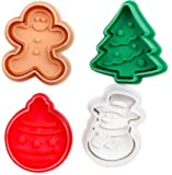 Internet's Best Mini Christmas Themed Cookie Cutter Set | 4 Piece | Plastic Winter Molds | Spring Fondant Press Cake Decorating Tool | Snowman, Christmas Tree, Gingerbread Man & Ornament | Small