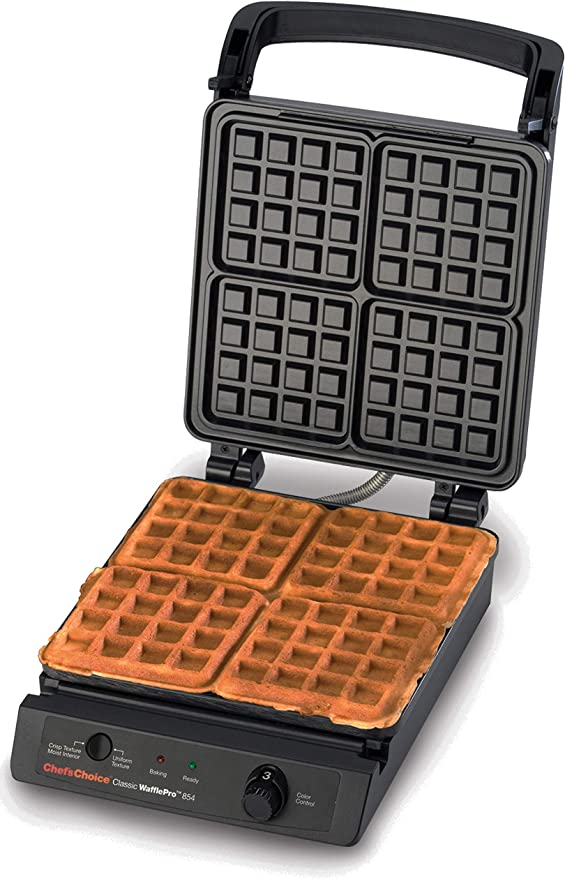 Chef's Choice 854 Classic Pro 4-Square Waffle Maker, 15.75 Inch, Silver