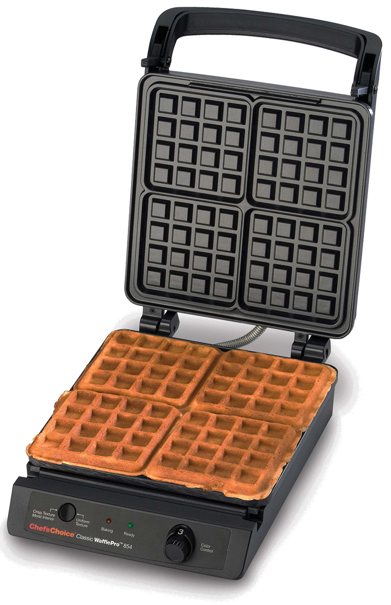 Chef'sChoice 854 Classic WafflePro Nonstick Waffle Maker Features Taste and Texture Select Option with Temperature Control Make Delicious Waffles for Breakfast Lunch or Dinner, 4-Square, Black by Chef'sChoice