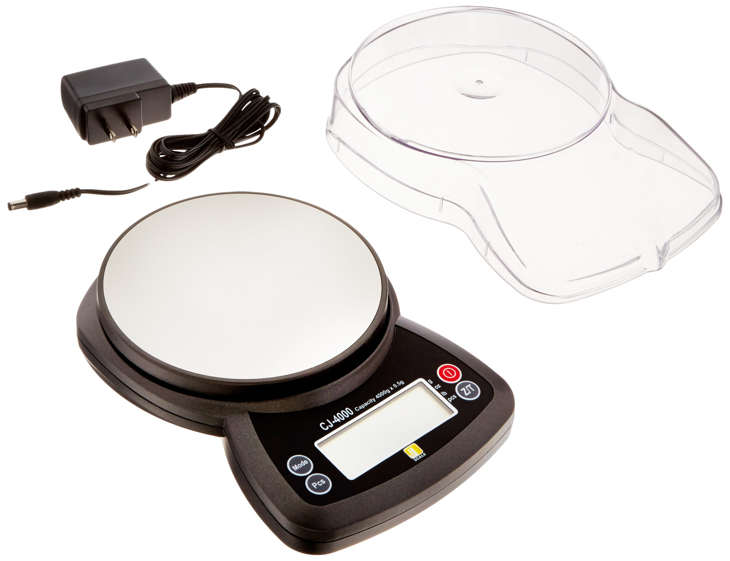 Jennings CJ-4000 Compact Digital Weigh Scale 4000g x 0.5g PCS JScale Black AC Adapter by Jennings