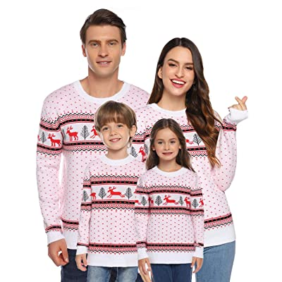 Akalnny Christmas Family Matching Sweaters Ugly Christmas Funny Reindeer Snowflake Knit Sweaters Pullover: Clothing
