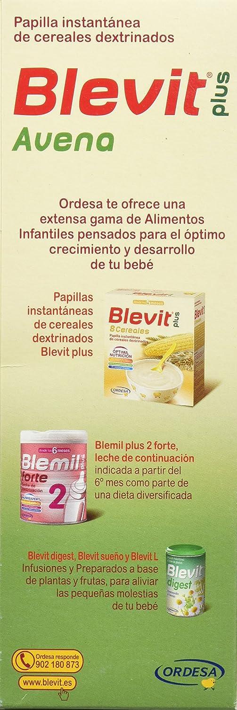 Blevit Plus Avena Cereales, 1 unidad 300 gr. A partir de los 6 meses.: Amazon.es: Alimentación y bebidas