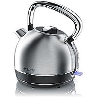 Arendo - Retro Edelstahl Wasserkocher/Teekessel im Vintage Style | max. 2200 Watt | austauschbarer Kalkfilter | Füllmenge max. 1.7 Liter | automatische Abschaltung | Silber (Edelstahl gebürstet)