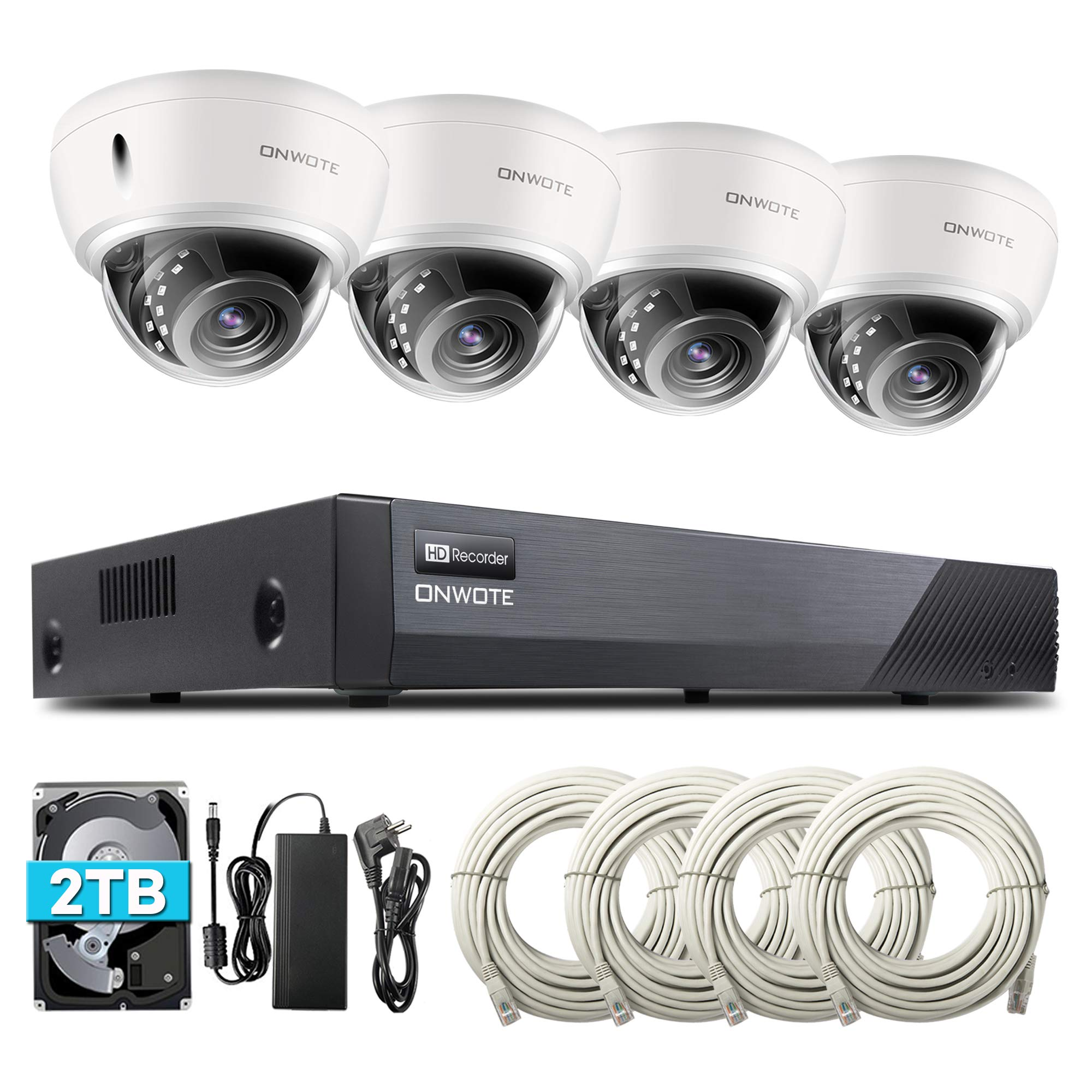ONWOTE 8CH 5MP PoE Security Camera System with Audio, Vandal-Proof Dome, 4 Outdoor 5MP 2592x1944P 100ft IR PoE IP Security Cameras, 8 Channel 5MP H.265 NVR 2TB HDD, Add 4 More Cameras, Onvif