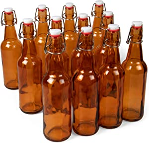 16 oz. Amber Glass Grolsch Beer Bottles, Pint Size – Airtight Seal with Swing Top/Flip Top Stoppers – Supplies for Home Brewing & Fermenting of Alcohol, Kombucha Tea, Wine, Homemade Soda (12-pack)