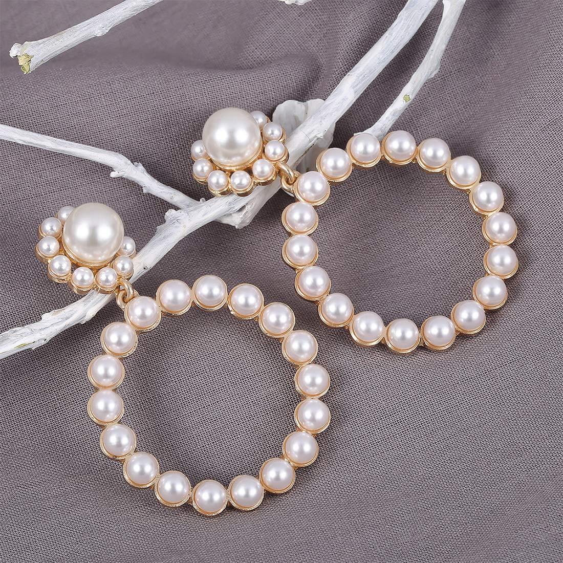 Pearl Hoop Drop Earrings Fashion Lightweight Pearl Dangle Earrings for Women Girls Christmas Jewelry Gifts