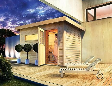 Sauna Chalet madera de 38 mm exterior Skrollan Karibu 5/6 plazas con un Estufa
