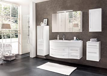 Badezimmer Set Weiß.Sam Badmöbel Dali 5tlg Badezimmer Set Weiß Hochglanz Waschplatz 110 Cm Mit Mineralgussbecken Links 1 Spiegelschrank 1 Hochschrank 1
