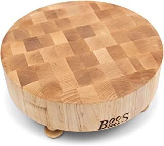 product image for John Boos Block MPL121203R-MTBF Raised Maple Wood Round End Grain Chopping Block with Tapered Feet, 12 Inches x 12 Inches x 3 Inches