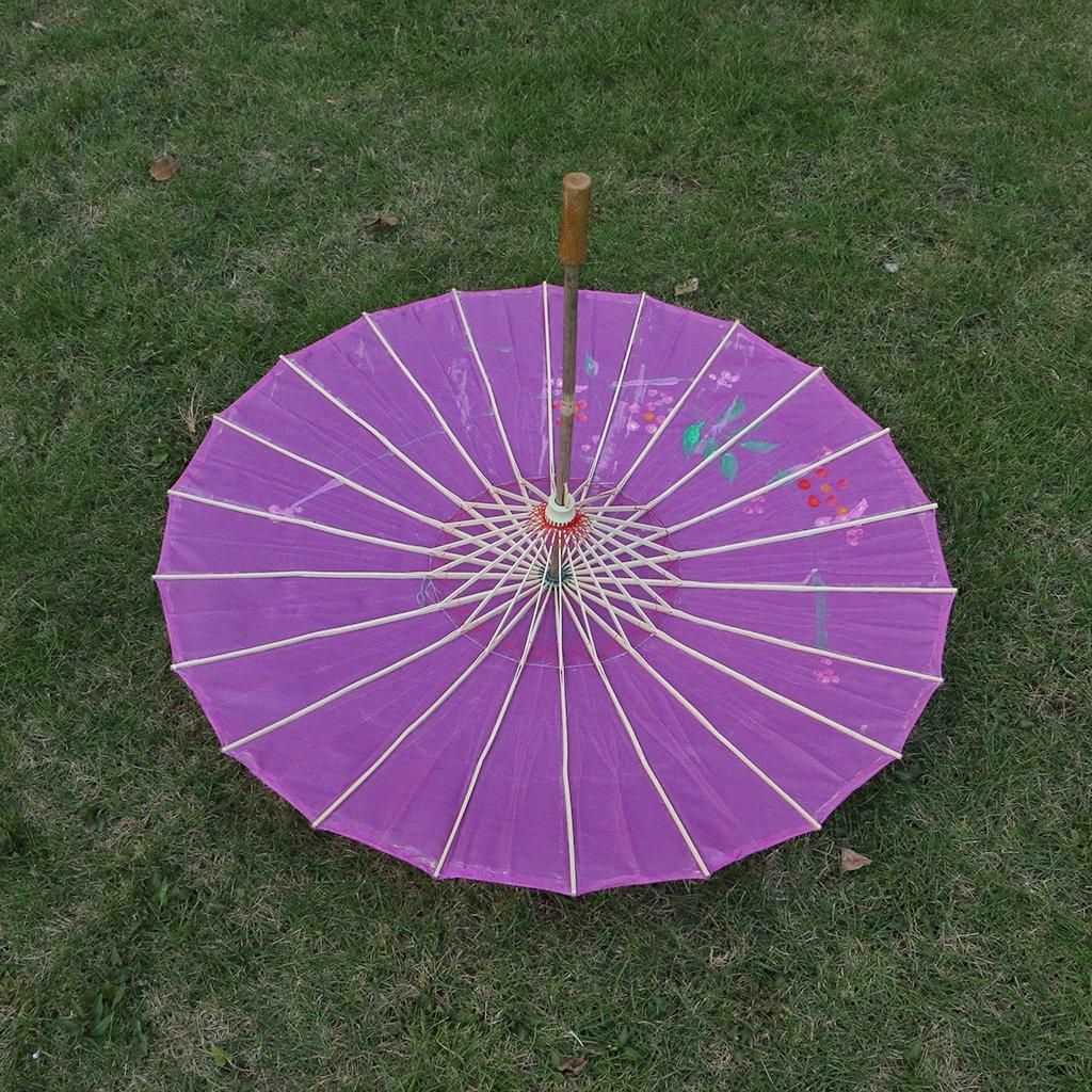 Homyl Pieces of 2 Elegant Women Wooden Handle Cloth Floral Umbrella Dance Prop Rose Red+Purple by Homyl (Image #10)