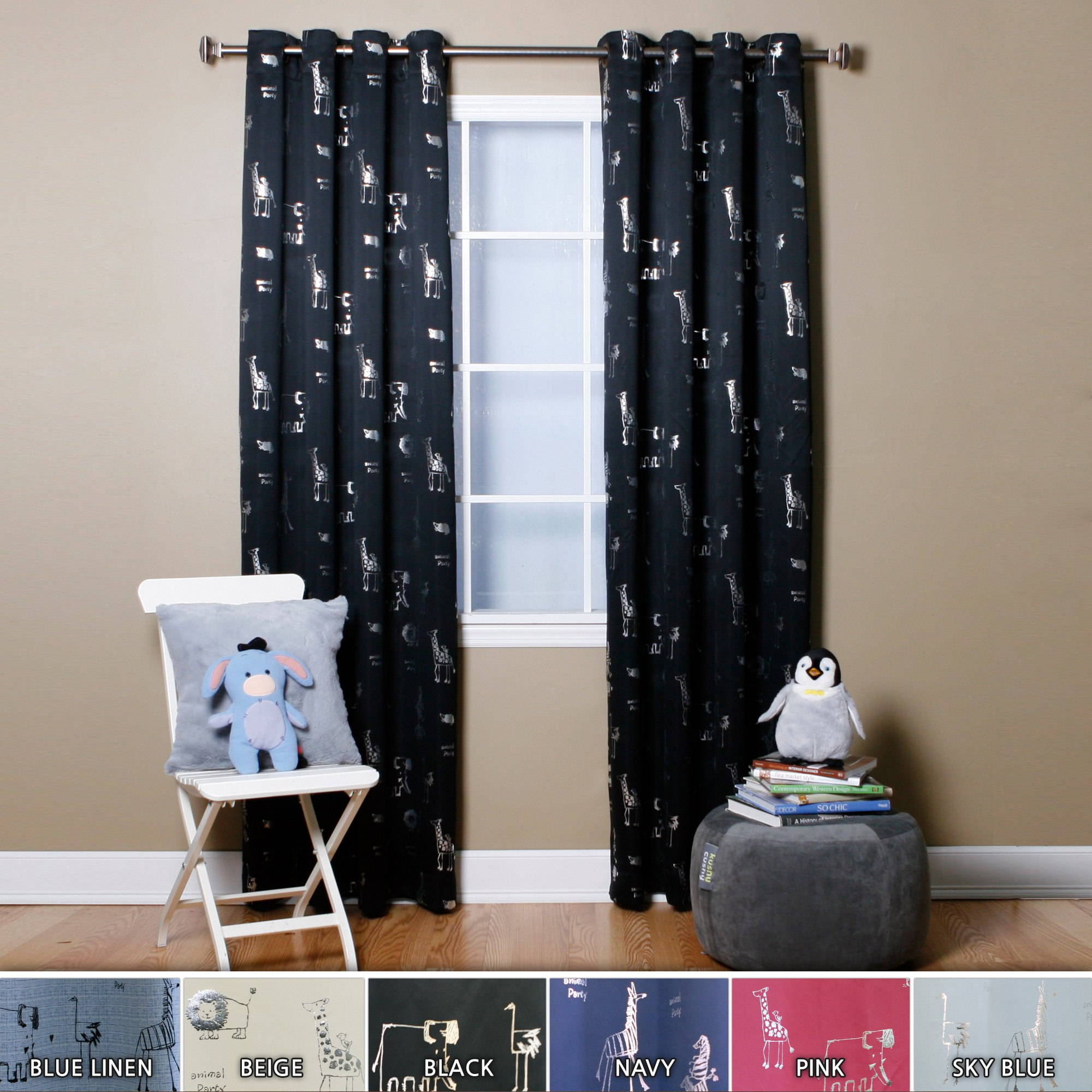 Best Home Fashion Room Darkening Animal Print Curtains - Stainless Steel Nickel Grommet Top - Black - 52'' W x 84'' L - (Set of 2 Panels)
