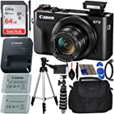 Canon PowerShot G7 X Mark II Digital Camera (Black) with Accessory Bundle - Includes: SanDisk Ultra 64GB SDXC Memory Card, Re
