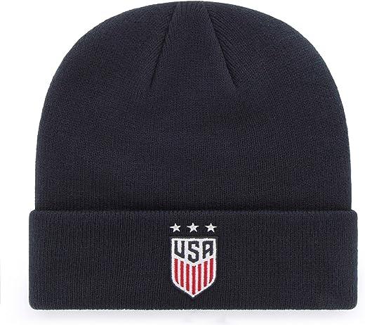 قبعة من OTS World Cup Soccer U.S. Women's Soccer Team Men's Raised Cuff Knit Hat، شعار النجوم، مقاس واحد