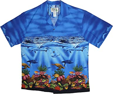 KYs | Original Camisa Hawaiana | Caballeros | S - 3XL | Manga Corta | Bolsillo Delantero | Estampado Hawaiano | Delfines Tortugas Piscis |Azul: Amazon.es: Ropa y accesorios