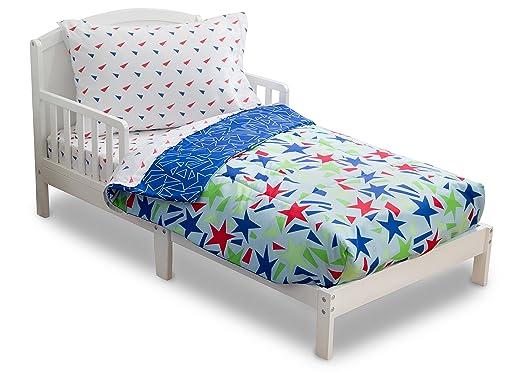 Delta Children Reversible Boys Toddler 4 Piece Bedding Set (Fitted Sheet, Flat Top Sheet w/ Elastic bottom, Fitted Comforter w/ Elastic bottom, Standard Pillowcase) Boys Star Gaze   Red, Blue, Green