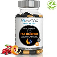 SOMATOX T5 FAT BURNER ★ Ultimate Max Strength ★ Natural Weight Loss • Burn Fat • Slimming Diet Pills • Boost Energy • Thermogenic Supplement ★ Max Strength 3157mg Total Daily Dosage / 90 Veg Caps 30 Day Supply ★ Made UK