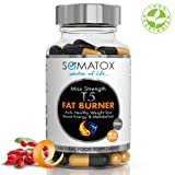 SOMATOX T5 FAT BURNER - Natural Weight Loss • Burn Fat • Slimming Diet Pills • Boost Energy • Thermogenic Supplement ★ Max Strength 1300mg / 90 Veg Caps 30 Day Supply ★ Made In UK (FREE eBOOK)